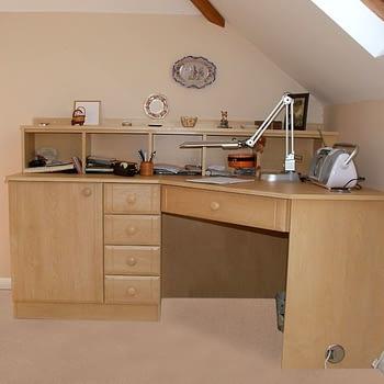 angled corner desk colour sandy birch style sherwood