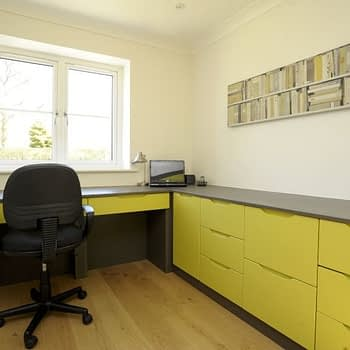 fitted home office units colour green gloss style brentford