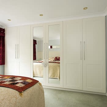 custom fitted wardrobe with mirrors colour cream smooth style shaker