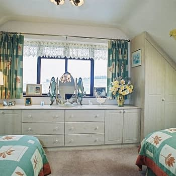 fitted angled wardrobes with low level cupboards and drawers colour maple style cottage square