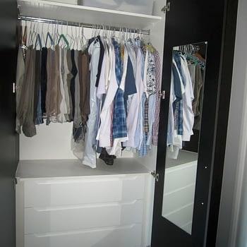 Wardrobe internals top shelf short hanging and drawers below