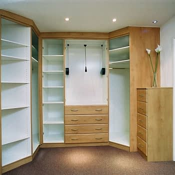 Wardrobe internals with angled end shelves