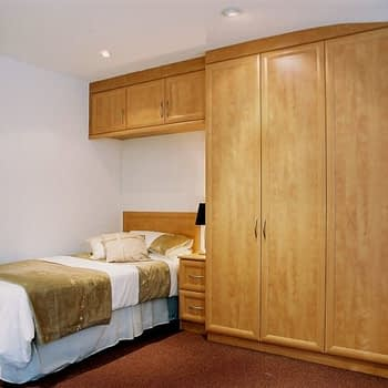 Fitted wardrobe with bridge and bedside unit colour cider pear style roma