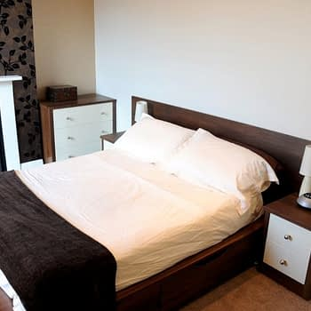 drawer unit and bedside units colour dark walnut and cream gloss style premier