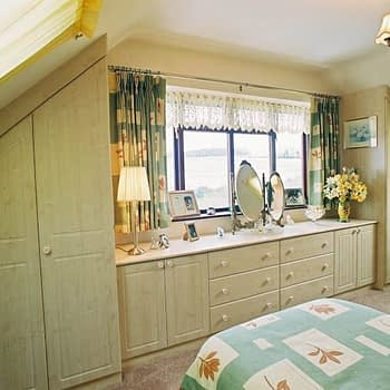 Fitted wardrobes with low level cupboards and drawers colour maple style cottage square