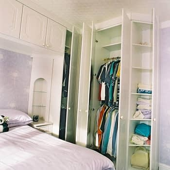 Wardrobe internals double hanging and angled end shelves