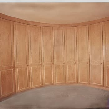 Wardrobe for curved wall